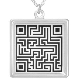 QR Maze Silver Plated Necklace