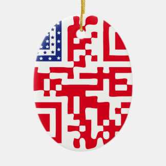 QR-USA.png Ceramic Ornament