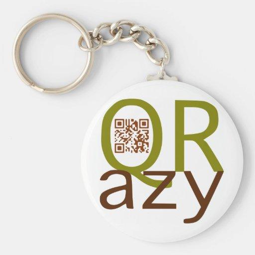 QRazy tan QR-código Llavero Redondo Tipo Pin
