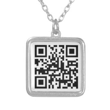 Professional Business QRC on Small Silver Plated Square Necklace