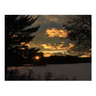 Quabbin Fishing Area Winter Sky Postcard
