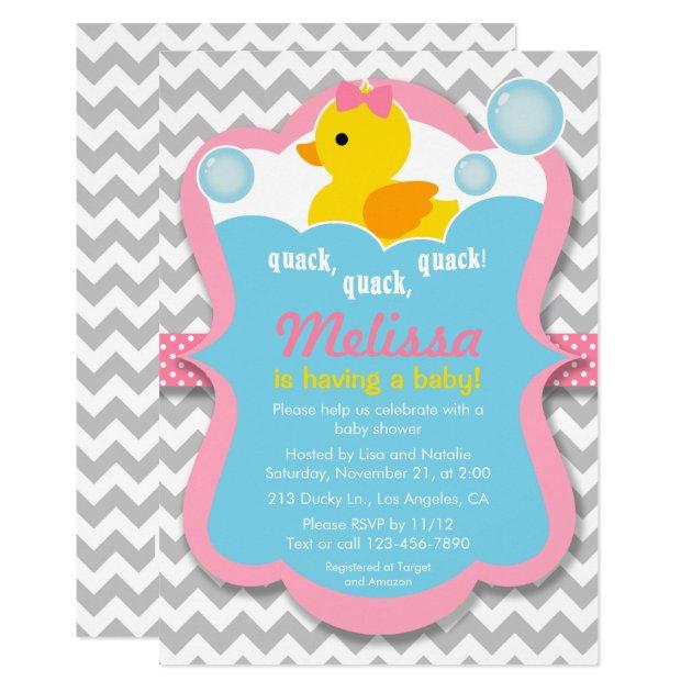 quack rubber ducky girl baby shower invitation | zazzle, Baby shower invitations