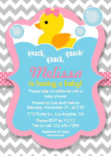Rubber ducky baby shower invitations zazzle quack rubber ducky girl baby shower invitation filmwisefo