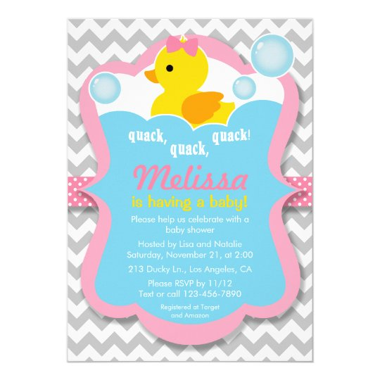 Quack rubber ducky girl baby shower invitation zazzle quack rubber ducky girl baby shower invitation filmwisefo Gallery