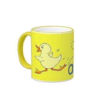 Quackers bright yellow duck mug