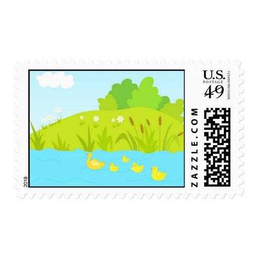 Quacking ducks postage stamp