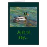 Quacking Mallard Duck Fine Art Gift Greeting Card