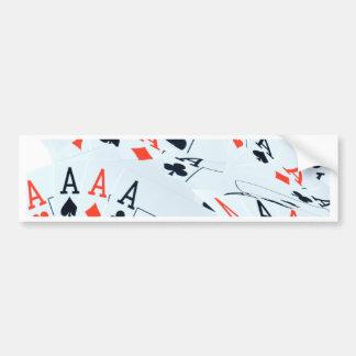 Quad Aces Poker Cards Pattern, Bumper Sticker