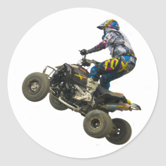 quad bike classic round sticker