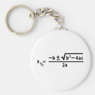 quadratic formula basic round button keychain