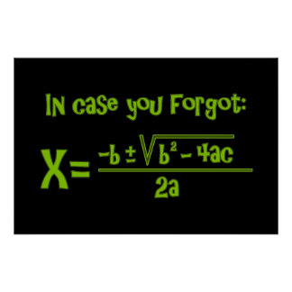 Quadratic Formula Reminder Poster