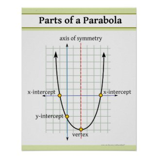 Quadratic Function: Parts of a Parabola Poster