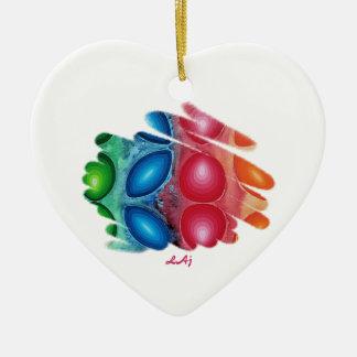 Quadric Color Energy Spirals Heart Ornaments