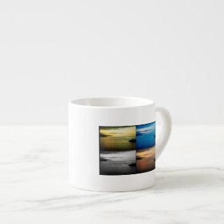 Quadriptych seascape at sunset espresso cup