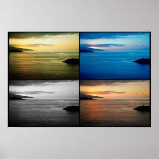 Quadriptych seascape at sunset print