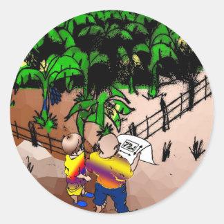 quadro1 quadrinho dialogue surveyor boy classic round sticker