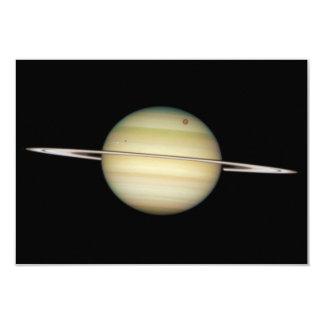 Quadruple Saturn Moons in Transit 3.5x5 Paper Invitation Card