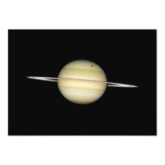 Quadruple Saturn Moons in Transit 5x7 Paper Invitation Card