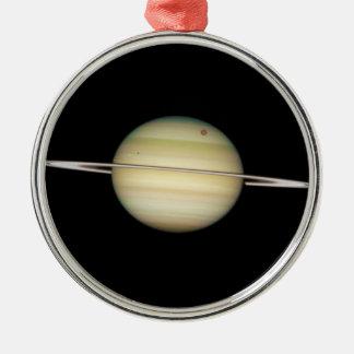 Quadruple Saturn Moons in Transit Metal Ornament