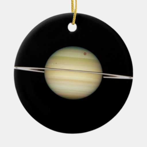 Quadruple Saturn Moons in Transit Christmas Ornament