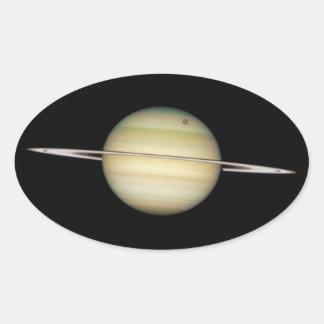 Quadruple Saturn Moons in Transit Oval Sticker