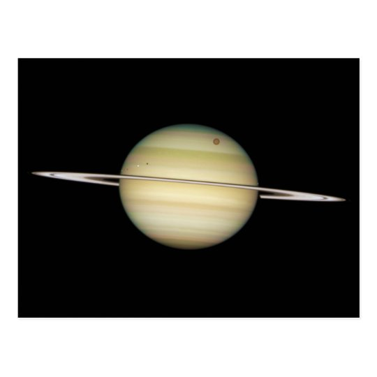 Quadruple Saturn Moons in Transit Postcard