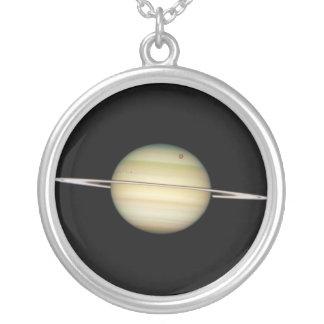 Quadruple Saturn Moons in Transit Round Pendant Necklace