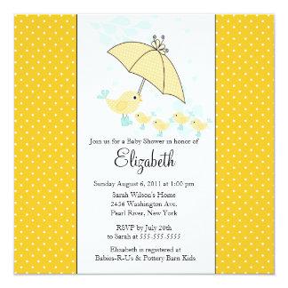 QUADS Mom & Baby Bird Baby Shower Invitation