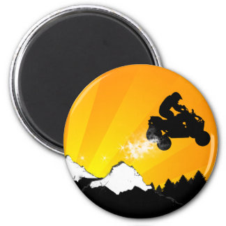 quads. orange sunset. 2 inch round magnet