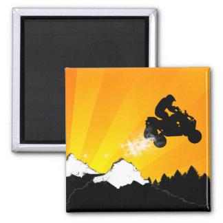 quads. orange sunset. 2 inch square magnet
