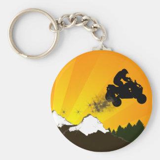 quads. orange sunset. basic round button keychain