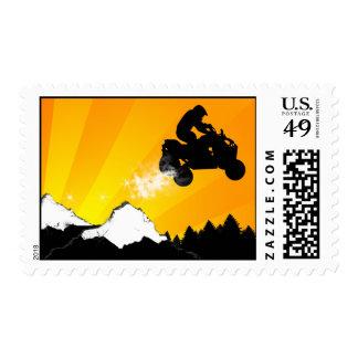 quads. orange sunset. postage stamp