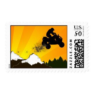 quads. orange sunset. postage