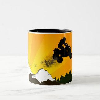 quads. orange sunset. Two-Tone coffee mug