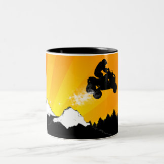 quads. orange sunset. Two-Tone coffee mug