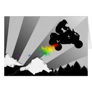 quads. rainbow sunset. card
