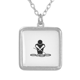 Quads - Tenor Drums - Squints Silver Plated Necklace