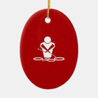 Quads - White - Red Background - Tenors Baby! Double-Sided Oval Ceramic Christmas Ornament