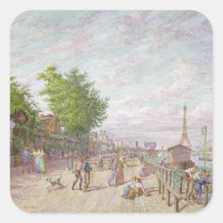 Quai du Point du Jour, Boulogne Billancourt, 1897 Square Sticker