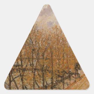Quai Malaquais, mañana de Camille Pissarro Pegatina Triangular