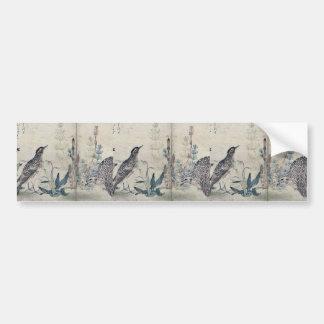 Quail and Meadowlark by Kitagawa, Utamaro Ukiyoe Car Bumper Sticker