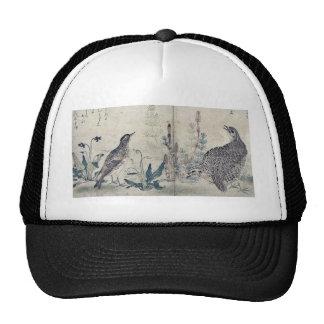 Quail and Meadowlark by Kitagawa, Utamaro Ukiyoe Hats