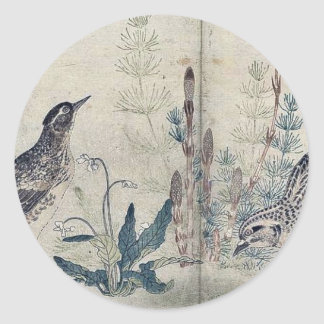 Quail and Meadowlark by Kitagawa, Utamaro Ukiyoe Classic Round Sticker