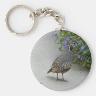 quail basic round button keychain