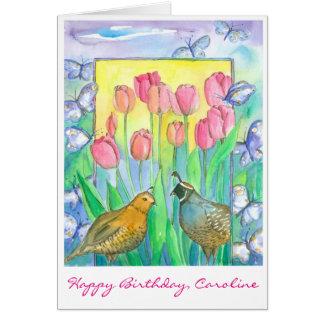 Quail Birds Pink Tulip Flowers Happy Birthday Card