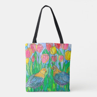 Quail Birds Watercolor Painting Tote Bag