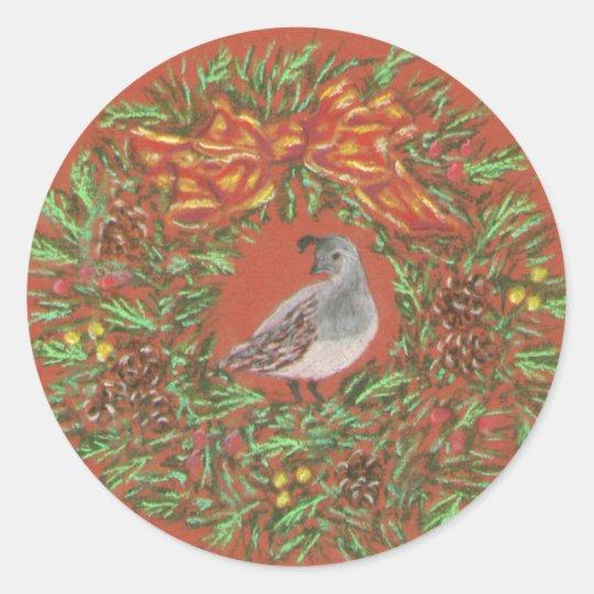 quail desert Christmas Classic Round Sticker