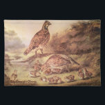"Quail Family Placemat<br><div class=""desc"">This is a reprint of the original Currier &amp; Ives lithograph called,  &quot;The Cares of a Family&quot;,  showing a family of quail in a meadow with soft summer light.</div>"