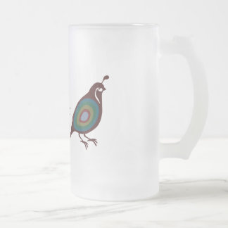 Quail Frosted Glass Beer Mug