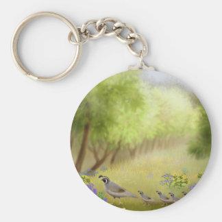 Quail in a Meadow Keychain